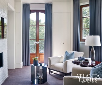 Barbara Barry armchairs in the master bedroom sitting area provide a peaceful retreat.