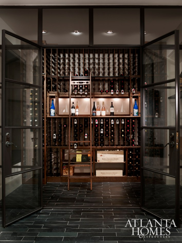 Even the wine cellar was treated to meticulous detailing, from steel-framed windows to moody tile.