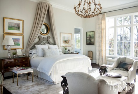 Designer Carole Weaks imbued this airy, light-filled master suite with subtle romance.