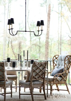 To allow for entertaining throughout the seasons, rattan dining chairs were sprayed with a protective coating.
