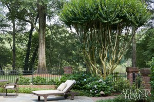 A crape myrtle towers above outdoor seating near the property's pool.