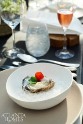 Oysters on the half-shell were served with a strawberry mignonette.