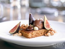 Five-spice cake with chocolate mousse, hazelnuts and figs.
