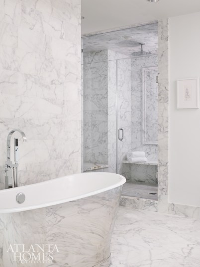 For the spa-like master bath, Turner selected a reflective soaking tub by Waterworks.