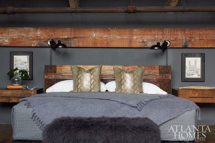 Hardy commissioned floating nightstands in the master bedroom to complement the graining of the wood beams and bed