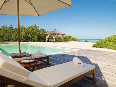 The beach houses and villas at Parrot Cay offer extreme luxury and privacy; each residence has its own pavillion and infinity pool and is conveniently perched just steps from the beach.