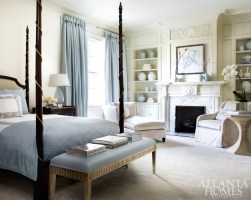 Dessin Fournir's Ogden bed and Norman bedside chest, both through Ainsworth-Noah, add visual weight to the master bedroom. Drapery fabric, Jim Thompson. Side table, Bunny Williams Home. Carpet, Stark. Lamp, Joseph Konrad.