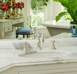 A fixture in Buckhead homes for more than 43 years, James Stack's handcrafted stonework carefully matches veining from multiple pieces of stone for a seamless look.