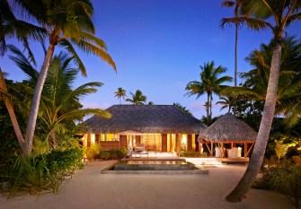 Each villa boasts an outdoor dining pavilion, lap pool and bathtub.