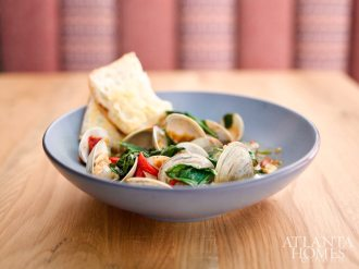 Sapelo Island clams, with spinach, red pepper and sofrito broth.