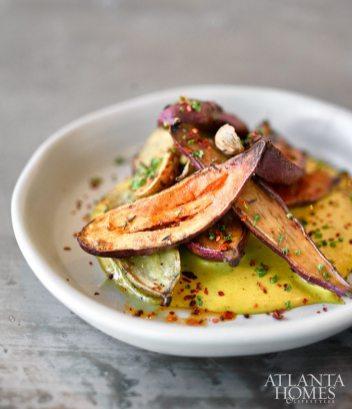 Seasonal vegetables, big cuts of beef and fresh seafood