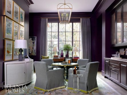 Robert Brown packs a punch in the living room and bar of the 2017 Home for the Holidays Designer Showhouse, enveloping the room in Farrow & Ball's Pelt. The cabinetry is by Bell Cabinetry & Design, the countertops and backsplash are Levantina, the faucets are Renaissance Tile & Bath, and the windows are Windsor Windows.