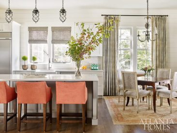 A jaunty persimmon covers the kitchen barstools