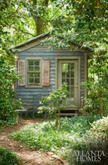 Renovations turned a dilapidated garden shed into a charming design studio for Mary Kate Hewes.