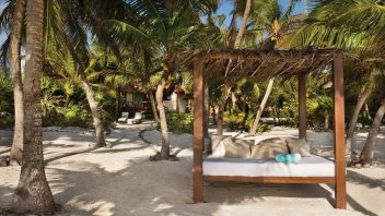 Shady cabanas dot the beach,—ideal spots for sipping a Margarita, reading a book or indulging in an afternoon nap.