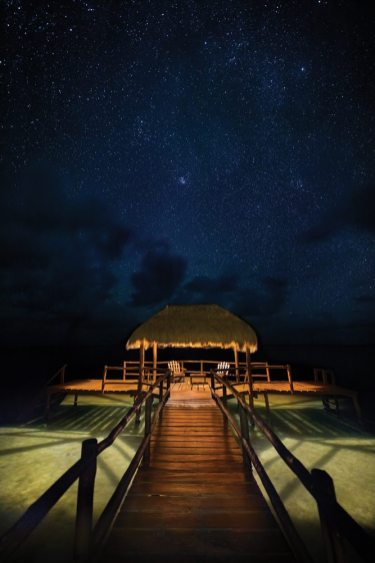 The Dock at the Lagoon is a boat dock, of course, but also a yoga and massage platform by day, and the best place to behold the panoramic sunsets, followed by star-filled skies at night.