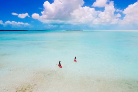 Paddleboarding at Caicos Bank is among the many on-island activities.