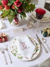 Custom, white monogrammed linens by Nancy Stanley Waud Fine Linens in Beverly Hills are paired with the Wedgwood china, Gorham Strasbourg silverware and Saint Louis crystal stemware.