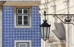 Traditional blue tiles adorn architecture in Chiado.