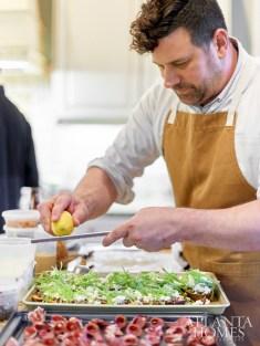 Riggenbach grates lemon over mushroom duxelles, homemade ricotta and snap peas on crostini.