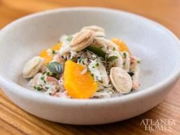 Crab salad with lemon aioli, turnip and lemon oil.