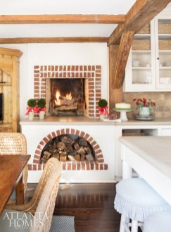 The original kitchen includes an unusual countertop fireplace.