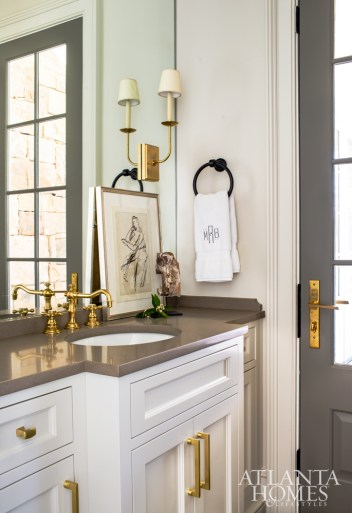 A powder room is clean and serene.