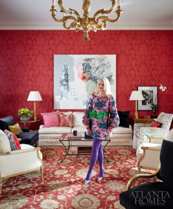 Atlanta philanthropist Susan Been wears Gucci in the living room of her Buckhead home, which played host to an unforgettable brunch that benefited the High Museum of Art.