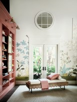 Kasler added the round-paned mirrors high on the walls to mimic windows and bring light into the space.