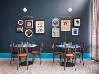 The interiors, designed by Square Feet Studio, take an eclectic approach.