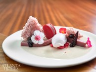 Ruby dessert with rose Gelée and fresh berries.