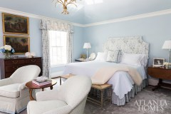 Fabrics by Jane Shelton and Schumacher create a soothing environment in the master bedroom where an Eve and Staron Studio rug anchors the space.
