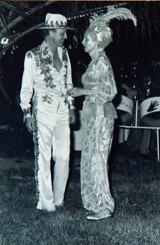 """Lord and Lady Glenconner at his """"Golden Birthday Party"""" in 1976."""