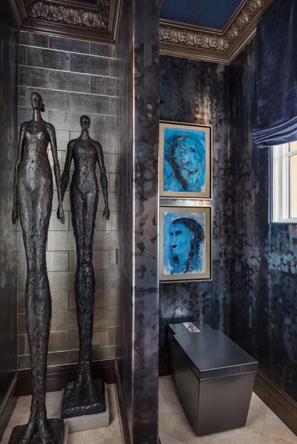 "RENOVATION–Bathroom GOLD ""Powder Room | Kips Bay Palm Beach Showhouse"" ■ Mark Williams Design Mark Williams, Allied ASID; Niki Papadopoulos, ASID"