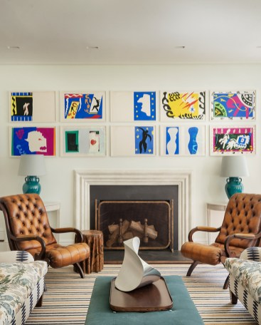The vibrancy of Matisse's Jazz series is balanced by robust leather chairs.