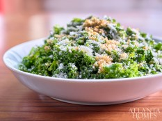 Kale salad with anchovy dressing, pecorino cheese and garlic breadcrumbs.