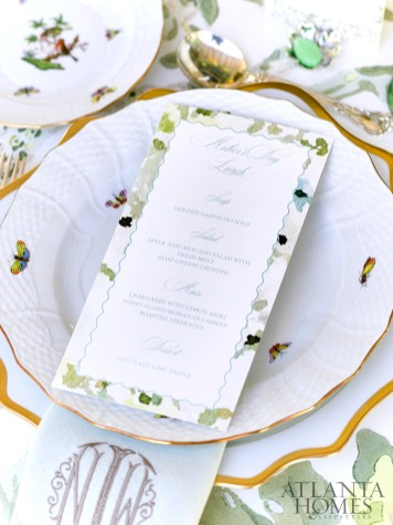 The custom menu cards created by Blythe Holliday perfectly coordinate with family-owned Herend china.