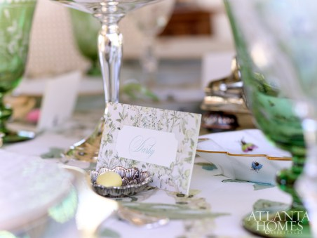 Sterling silver place card holders from Beverly Bremer Silver Shop are just large enough for a Jordan almond and a card.