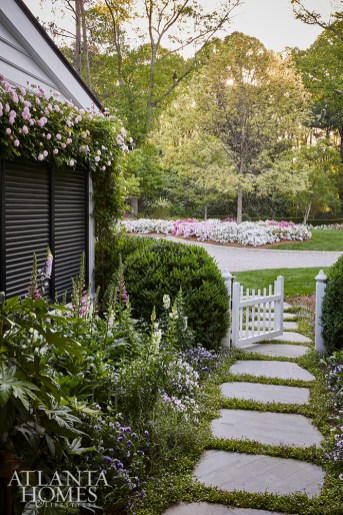 In the garden, a variety of perennials and herbs adds pops of color and can also be used as a cutting garden and for culinary needs.