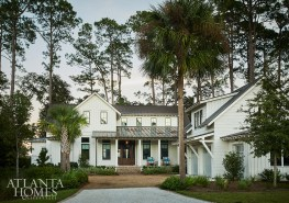 """Designed by architect Pearce Scott, builder Richard Best and interior designer Shelley Wilkins, this six-bedroom Bluffton, South Carolina, home maintains a sense of ease and proportion. """"Overall, we were going for the sense of balanced asymmetry,"""" notes Scott. """"We embraced traditional forms, materials and details, and tried to use them in interesting ways so that the final composition—while pushing the limits of a traditional Lowcountry aesthetic—is still very appropriate for the neighborhood."""""""