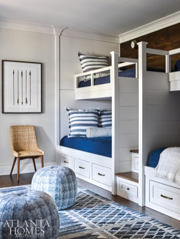 Featuring fun twin-size bunk beds, the bunk room was designed for the homeowners' grandchildren and their friends. Wilkins carried in the home's blue color scheme via bedding from Legacy Home and a rug from Keivan Woven Arts.