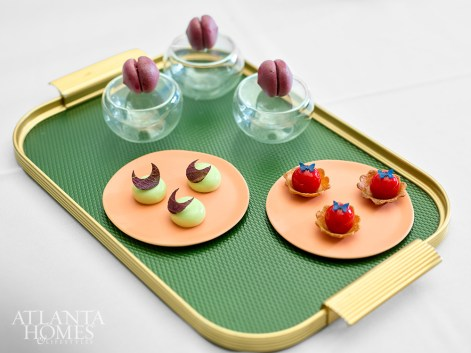 The first course features bites such as the beet cloud, foie gras bonbon and liquid olive tarts.