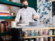 An interactive experience, Chef Freddy Money prepares a tableside dessert using liquid nitrogen.