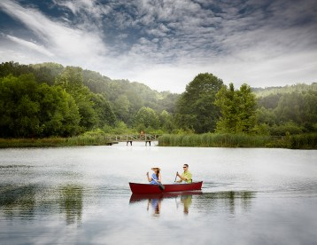 Activities on the water includes canoeing and fishing.
