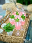 Pink lemonade dotted with fresh mint creates a pretty palette as well as a refreshing aperitif.