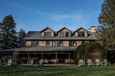 The classic bark-sided inn maintains its historic charm.