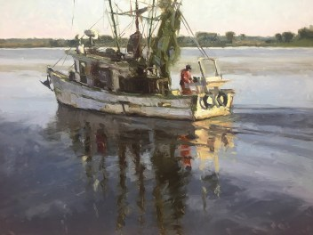 Shrimp boats off the Lowcountry coast document the Southern lifestyle that provides endless fascination for Boyd.