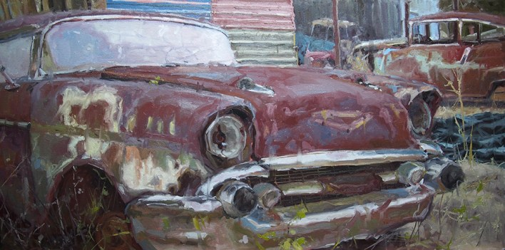 """""""I love anything with tires—tractors, cars and especially old red pickup trucks,"""" says Boyd."""
