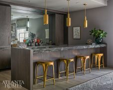 basement bar with stained oak cabinets and brass finishes