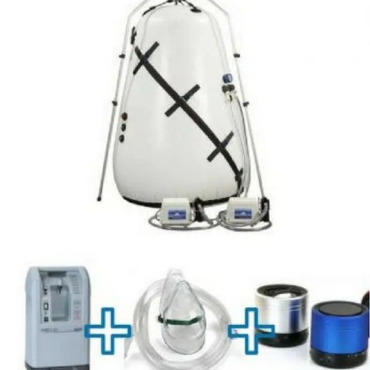 the 40 inches hyperbaric chamber bundle features oxygen concentrator, accesories and oxygen mask